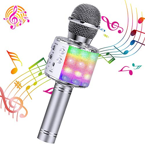 ShinePick Microfono Karaoke, 4 in 1 Bluetooth Wireless LED Flash Microfono Portatile Karaoke Player con Altoparlante per Android/iOS, PC e Smartphone (Argento)