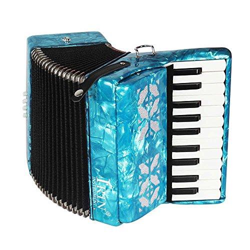 Dilwe Fisarmonica Legno d'Acero, 22 Tasti 8 Bass Fisarmonica a Tastiera con Tracolla Guanti Panno Pulito per Principianti(Blu)