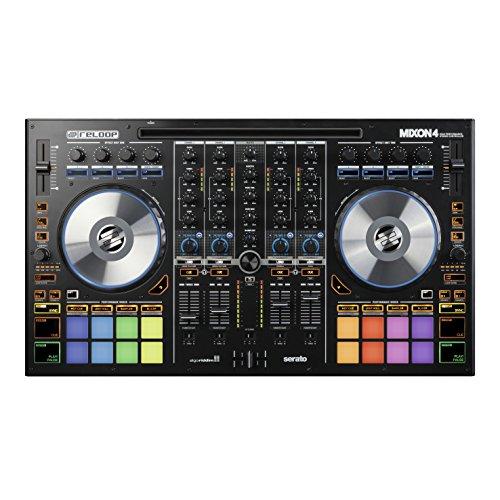 Reloop Mixon 4 - Controller DJ USB a 4 canali con 16 RGB performance drum pad, jog wheel e scheda audio integrata, plug and play con Serato DJ Pro e Algoriddim djay, (nero)