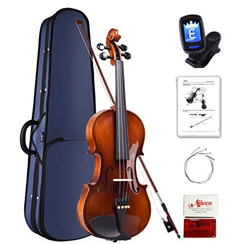 Aileen Violino Set 4/4 per Principianti Professionisti con Custodia, Accordatore, Manuale Utente, Corde Extra e Colofonia