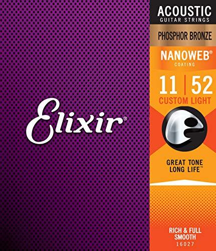 Elixir Strings Phosphor Bronze Acoustic Guitar Strings w NANOWEB Coating, Custom Light (.011-.052)
