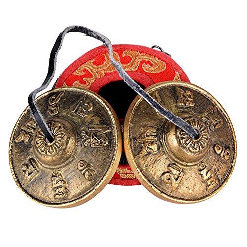 6.5cm Tibetan Buddhist Tingsha Tibetano Meditazione Campana Cembalo Chakra con Buddista Simboli Fortunati