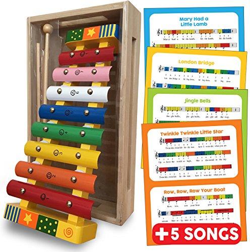 Colorato 8 Nota Metal / Xilofono musicale in legno, 2 Bacchette, per bambini, con spartito in dotazione, Glockenspiel / Xylophone.