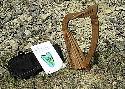 Arpa con 12 corde irlandesi, celtica, con borsa e libro